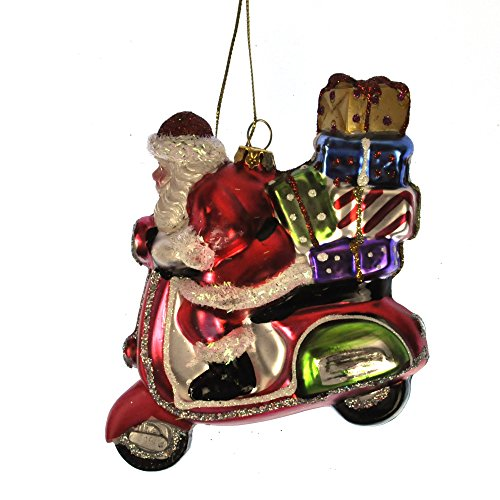 Painted Santa on a Vespa Scooter Christmas Tree Decoration (11cm)