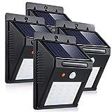 LEDMO Luces Solares 20 LEDs, blanco cálido 3000K PIR Sensor de movimiento y sensor ligero impermeable Luz de solar LED con modos inteligentes para la pared al aire libre, jardín, patio, 4 paquete.