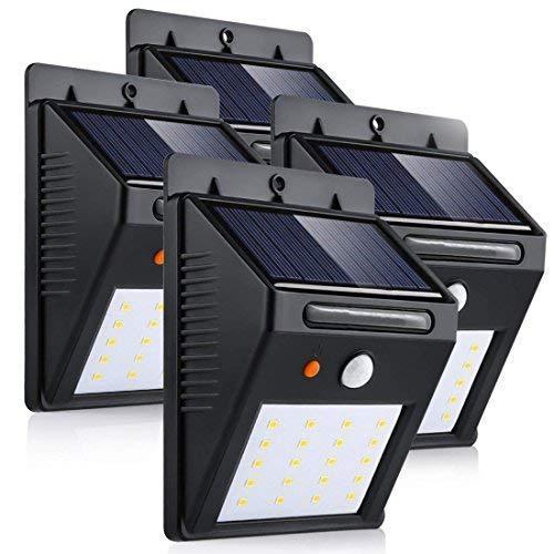 LEDMO Luces Solares 20 LEDs, blanco cálido 3000K PIR Sensor de movimiento y sensor ligero