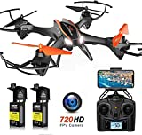 Cool Big Size Drone with FPV 720P HD Camera, APP Gravity Control, U842 Drone RC Quadcopter, 2 Batteries, 3D Flips and Headless Mode, for Beginners & Kids