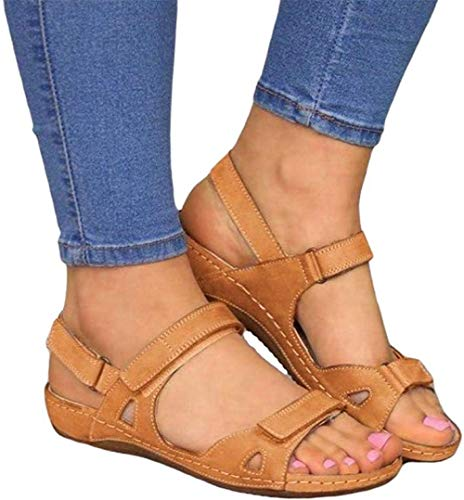 ALOVEWE Women's Orthopedic Open Toe Leather Sandals, Premium Comfy Hook and Loop Closure Sport Sandal, Casual Flat Arch Support Wedge Shoes for Summer Outdoor Hiking Walking Beach (Brown, 8)
