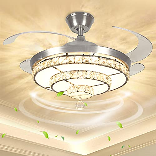 Modern Elegant Crystal Ceiling Light with Fan Retractable Blades, Ceiling Fan Lights with Remote Control, 3 Color Changeable, Chandelier Light with Adjustable Speed,Timing, K9 Crystal Beads