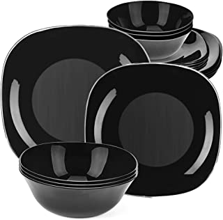 "Dinnerware Set 18-piece Black Dishes Sets Service for 6, 11"" And 8"" Plates 6"" Bowls Break and Crack Resistant Dish Sets"