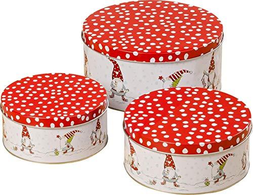 CasaJame 3er Set Metall Keksdose Plätzchendose Weihnachten Wichtel rot weiß Gepunkteter roter Deckel Sortiert H6-9cm