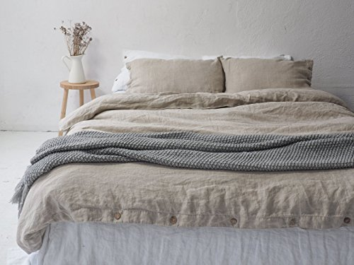 LINEN DUVET COVER with coconut buttons | stonewashed linen duvet cover, twin size, king size, queen size.