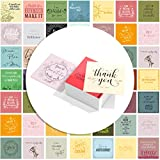 "【ELEGANTLY PRACTICAL / HIGH QUALITY】 60 Motivational unique cards - Blank back - 3.5"" x 3.5"" inches - Comes with a box. Full of inspiring quotes for a note in a school lunchbox or backpack, or to give to your employees or coworkers, or surprise a cas..."