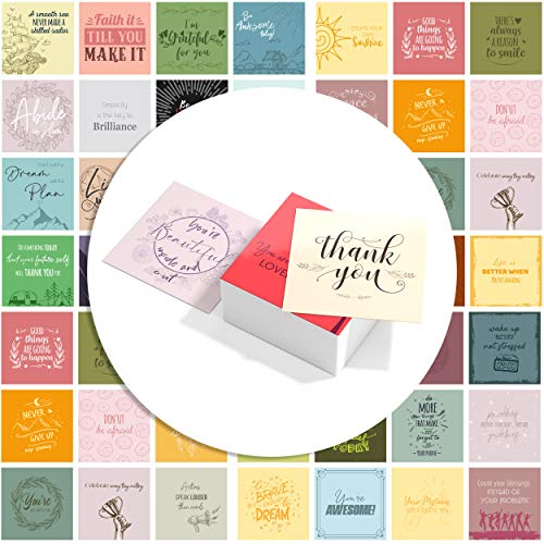 "60 Motivational & Positive Affirmation Encouragement Cards - 3.5"" x 3.5"" inch - Blank Back For Notes - Full of Inspirational Unique Quotes"