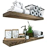 """Reclaimed Wood Floating Shelves Set of 2 - Rustic Shelf 24 inch - Made in Europe - Wide Wooden Wall Shelves for Living Room Bedroom Kitchen Bathroom Farmhouse - Weathered Gray Finish - 24"""" x 6.7"""""""
