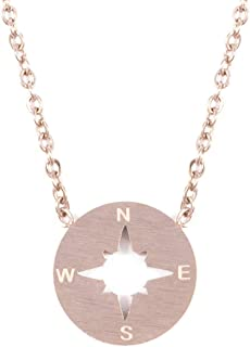 Compass Necklace Rose Gold Delicate Necklace with Compass Pendant Minimalist Jewelry Stainless Steel