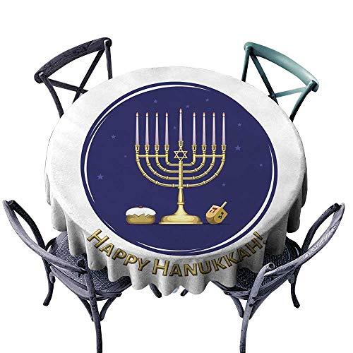 StarsART Waterproof Tablecloth Rectangle Happy Hanukkah Illustration D36,Round Tablecloth