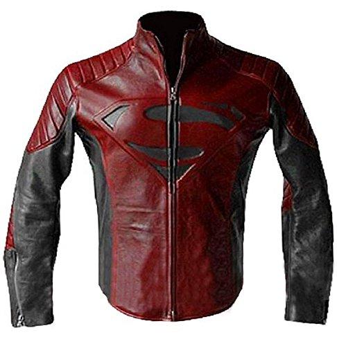 LP-FACON Superman S Logo Geprägtes Kostüm Gesteppt Motorrad Schwarz Rot Biker Lederjacke Gr. L, schwarz / rot