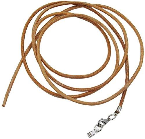 Unbespielt Lederband Kette Collier Halskette Hellbraun Damen Herren Karabinerverschluss Silberfarben 1m Lang Kürzbar
