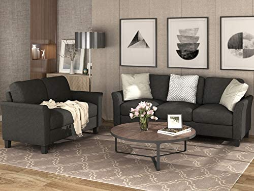 Merax Living Room Furniture, Modern Linen Fabric Upholstered Sofa Set with Thick Foam, 3-seat+Loveseat, Black