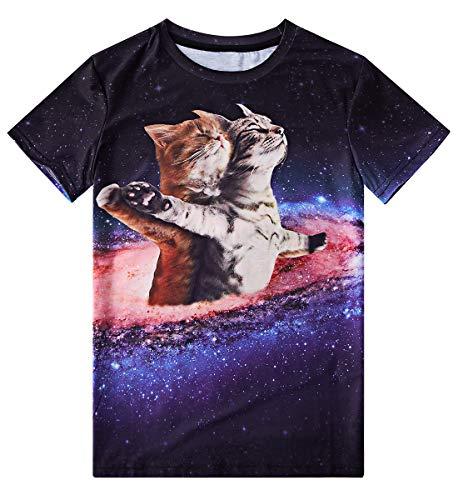 Jubestar Boys T-Shirts 3D Cat Printed T Shirt Short Sleeve Crew Neck Tee Shirt Casual Tops 6-8 Years