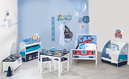 roba Spielzeug-Truhe 'Rennfahrer', Sitz-& Aufbewahrungs-Truhe fürs Kinderzimmer, Truhenbank Auto blau - 4