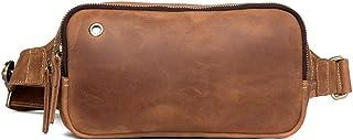 Motorcycle Bag - Vintage Leather Handmade Chest Bag, Men's Leather Chest Bag/Casual Messenger Bag/Wear-Resistant/Large Capacity/Light Brown 23 * 10 * 12CM Cool