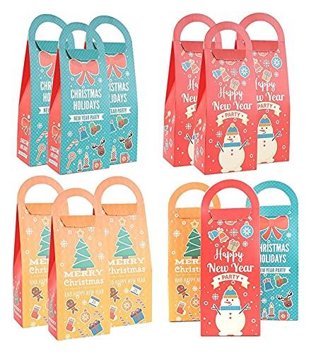SIRENK Bolso De Papel De Navidad 18 Piezas Árbol De Navidad Papel De Caramelo Papel Bolso De Regalo con Mango Boda Pastel Postre Paquete De Galletas
