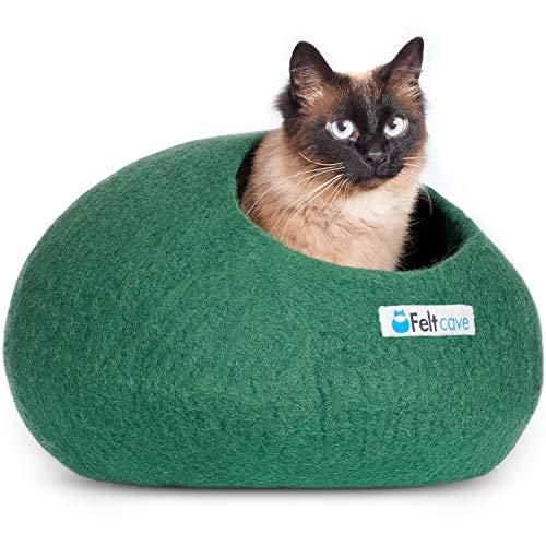 Feltcave Katzenhöhle aus Wolle, handgefertigt aus 100{ffc24d0859e1c84d8161adab9f13db3cefd8f76caa5db95a30fdd0e508dc2c8f} Merinowolle, umweltfreundliche Filz-Katzenhöhle für Katzen und Kätzchen, grün