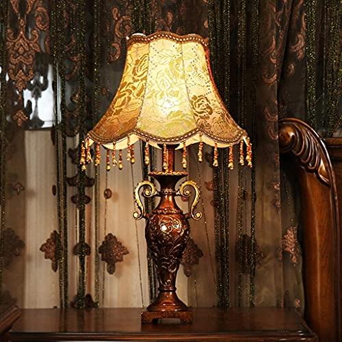 IOUYRRN Retro con lámpara de Tela marrón, lámparas de Lectura Noche lámparas de Noche para Dormitorio de Mesa de Noche, lámpara de Escritorio de decoración de la Boda