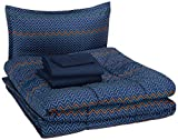 AmazonBasics Easy Care Super Soft Microfiber Kid's Bed-in-a-Bag Bedding Set - Twin, Navy Zigzags
