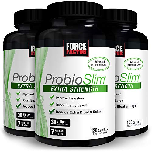 ProbioSlim Extra Strength Probiotic Supplement for Women and Men with 30 Billion CFUs and Green Tea Extract for Gut Health Support, Bloating and Gas Relief, Force Factor, 360 Capsules (3-Pack)
