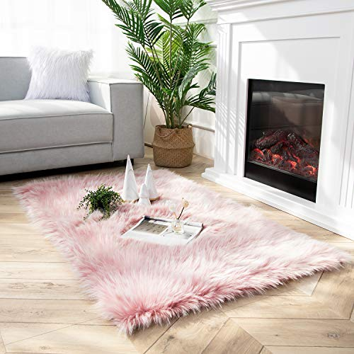 Ashler Faux Fur Rug Soft Faux Peacock Fluffy Rugs Luxurious Carpet Rugs Area Rug for Bedroom, Living Room Carpet Pink-Rectangle 3 x 5 Feet