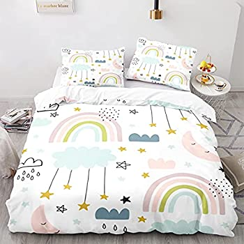 Seezom Rainbow Comforter Set Full Size for Girls Lovely Cartoon Star Moon Clouds Bedding Set Cozy Microfiber Bright White Duvet Cover Set Boys Kids Teens Room Decor,1 Duvet Cover 2 Pillow Shams
