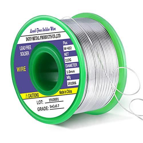 Fil de soudure, Gifort 1.0mm fil à souder sans plomb pour de soudure Sn 97.3% Ag 0.3% Cu 0.7% avec Colophane Base pour Soudure Électrique, 100g