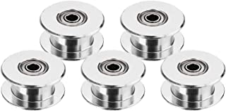 BALITENSEN 5pcs Toothless GT2 Idler Pulley 5mm Bore for 3D Printer 6mm Width Timing Belt (Bore 5mm, Toothless)