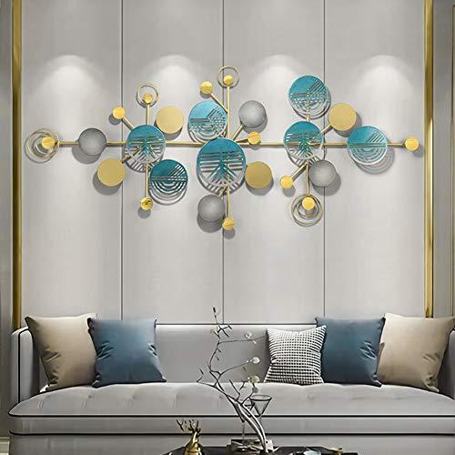 Little stars 3D Metall-Wandbild Moderne minimalistische Blau Aushöhlen Kreisform und goldene LinienWanddekoration - Für Arbeitszimmer/Wohnzimmer/Schlafzimmer/Hotel