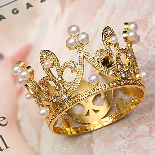 Gold Mini Crown Cake Topper Tiara Small Cupcakes Crown for Baby Shower Birthday Wedding Princess Theme Party Decorations