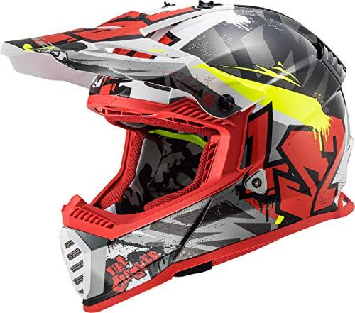 LS2 404373432XL - Casco de Motocross MX437 Fast EVO Crusher, Unisex, Negro Mate y Rojo, XL