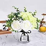 HEBE Artificial Flowers with Glass Vase Fake Silk Rose Flowers Eucalyptus Berries Arrangement Bouquet in Vase for Table Home Office Wedding Decoration,White