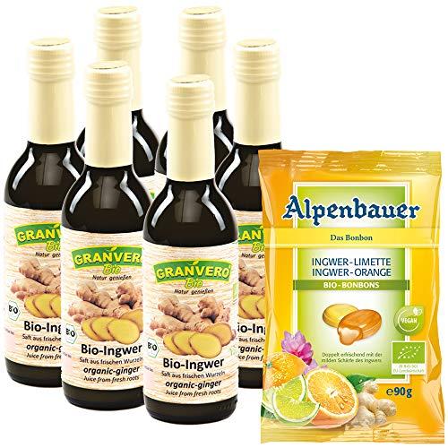 GRANVERO, Bio Ingwersaft, 99 % Ingwer, 250 ml 6 Flaschen, Ingwerkonzentrat,