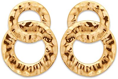 Tata Gisèle © - Orecchini placcati oro, doppio anello martellato, sacchetto regalo in velluto