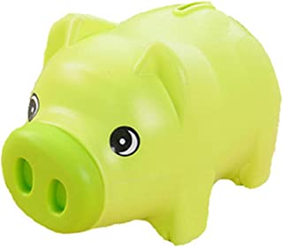 Plastic Cute Unisex Piggy Bank Coin Saving Pot Cash Collectible Saving Box Pig Toys for Toddler, Kids, Girls, Boys, Adults, Favorite Unique Gift Idea(Green)
