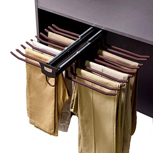 Garderob utdragbar byxhållare, slipshållare klädstång, 20 par byxor klädhängare med dämpare för skåp med djup 47 cm