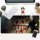Dmsbzd Trafalgar D Water Law Roter Herz-Piraten-Flagge Schwarz One Piece Serie Weit Spiel Mauspad PC Big Table Mat Größe Komfortgriff Anti-Rutsch-Lock-Laptop-Tastatur-Pad (Größe : 900 * 400 * 3mm)