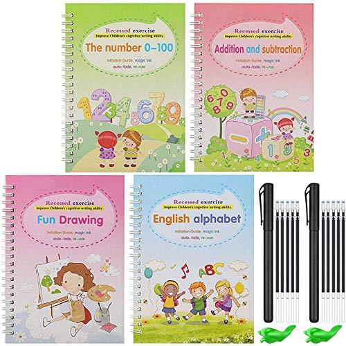Magic Practice Copybook Set, Englisch Für Kinder Wiederverwendbares Magical Copybook Kids Tracing Book Für Handschrift Magical Letter Writing Book Set B