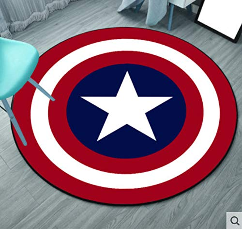 weiyibaobei Runder Teppich Cartoon Anime Captain America Nettes Kinderzimmer Wohnzimmer Schlafzimmer Nachtbad Bad Rutschfester Kristall Samt Dekor Teppich 160Cm