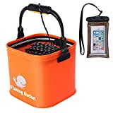 Sunglow Fishing Bucket,13L/3.4 Gallon Collapsible Bait Bucket,Fishing Bait Storage,Live Fish Container Multi,Functional Fish Live Lures Bucket,Outdoor Foldable Bucket with 16 Foot Rope(Orange)