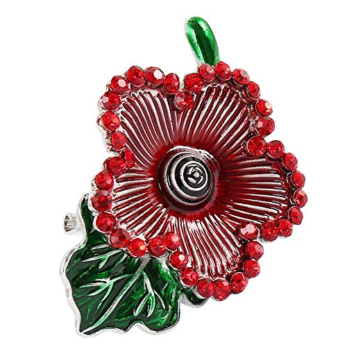 Red Poppy Badges Lest We Forget Pin Remembrance Day Enamel Diamante Crystal Brooch Gift