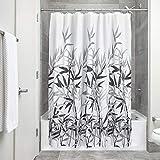 InterDesign Anzu Cortina de ducha | Cortina de baño lavable a máquina de 183 x 183 cm | Cortinas modernas con estampado floral para bañera o plato de ducha | Poliéster gris