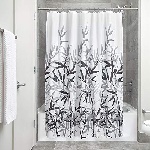 iDesign Anzu Duschvorhang | waschbarer Duschvorhang in 183,0 cm x 183,0 cm | mit floralem Duschvorhang Motiv | Polyester grau