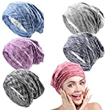 Satin Lined Sleep Cap Beanie Hat 6 Pieces Adjustable Bonnet satin bonnet for curly hair sleeping caps for women -Gifts for ladies