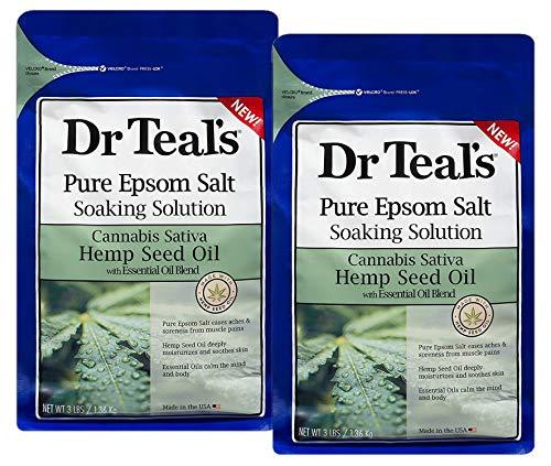 Teal's Pure Epsom Salt Soak, Cannabis Sativa Hemp Seed Oil, 3 Lbs (Pack of 2)