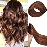 Clip in Hair Extensions Human Hair Brown Highlights 22 inch Balayage Ombre Long Hair Extensions Clip on for Fine Hair Full Head 4/30 Straight Soft Remy Hair 70g 7 Hair Piece