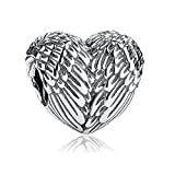 ARTCHARM 925 Sterling Silver Feathers Angel Wing Heart Shape Charm Bead Fit European Bracelet Necklace