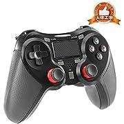 ps4 コントローラー PS4 Pro/Slim PC対応 HD振動 連射 ゲームパッド ゲームコントローラー USB Bluetooth 接続 イヤホンジャック スピーカー内蔵 6軸センサー 高耐久ボタン ブラック