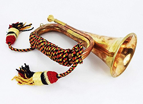 AnNafi Solid Brass And Copper Blowing Bugle| US Military Signal Horn Cavalry Horn| Musical Instrument Classic Style Boy Scout Retro Horn